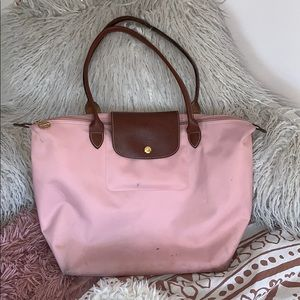 AUTH Large Longchamp Le Pliage Tote Pink Nylon💖💕